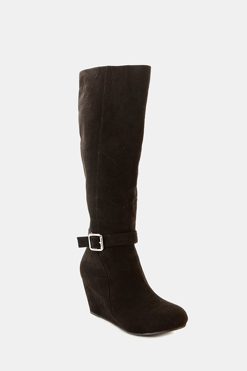 Wedge heel long boots