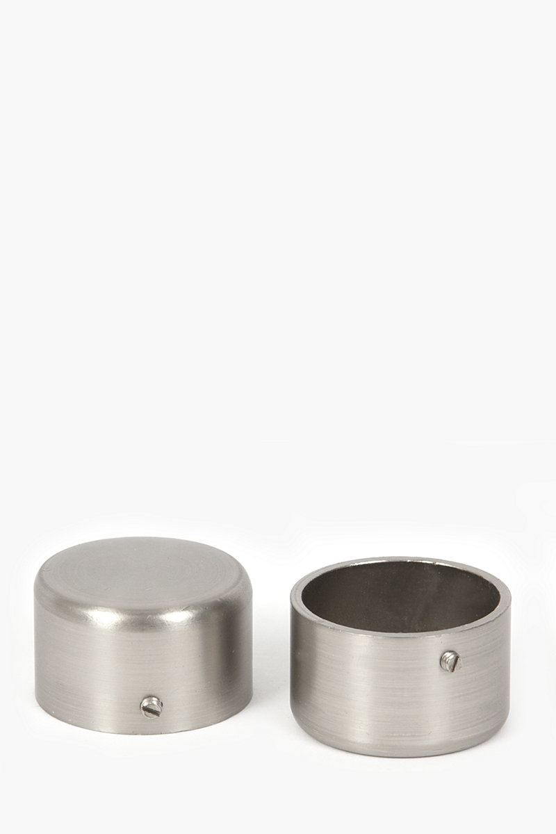 Two pack brushed silver rod end caps mm curtain