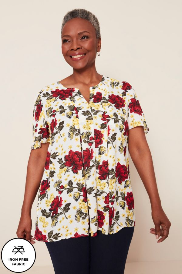 FLORAL HENLEY TOP - Iron Free