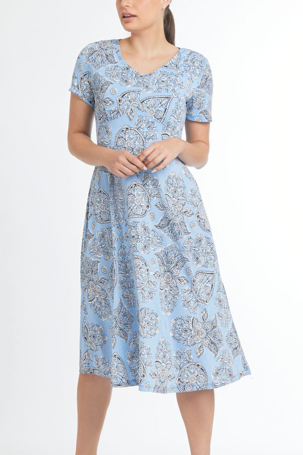 PAISLEY FIT AND FLARE DRESS