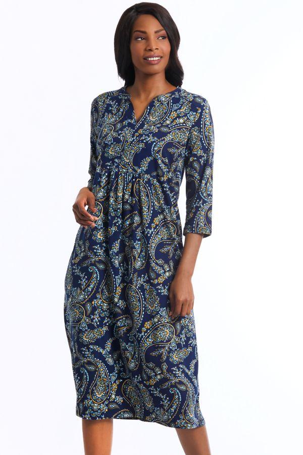 PAISLEY PRINT A-LINE DRESS