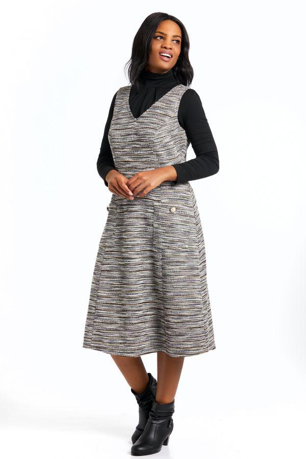 FLARED PINAFORE DRESS