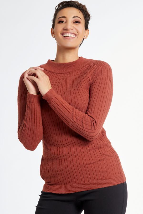 FUNNEL NECK KNITTED PULLOVER