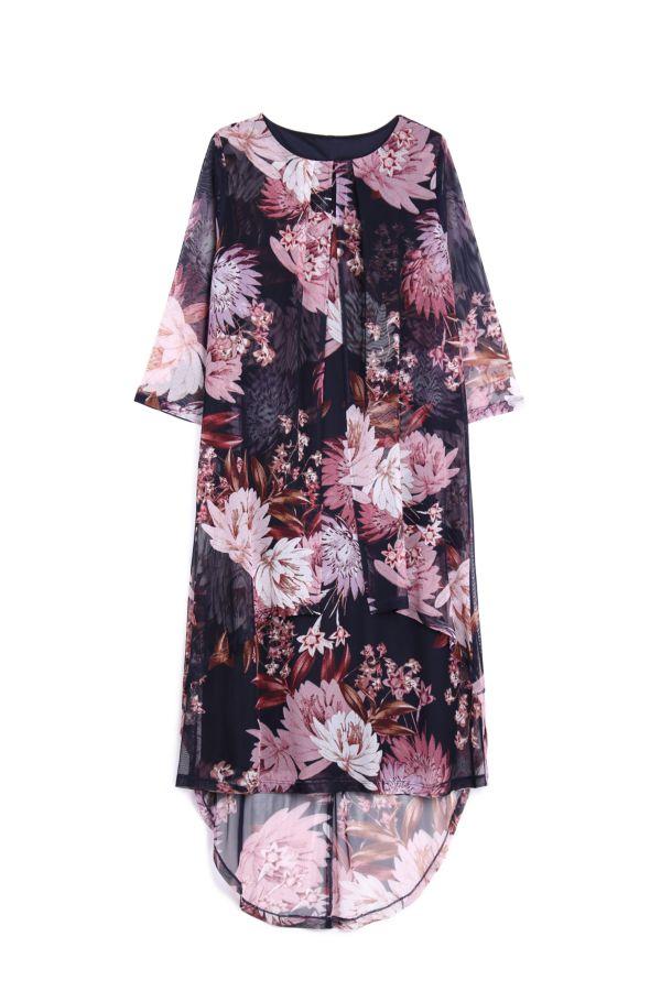 LAYERED FLORAL MESH DRESS