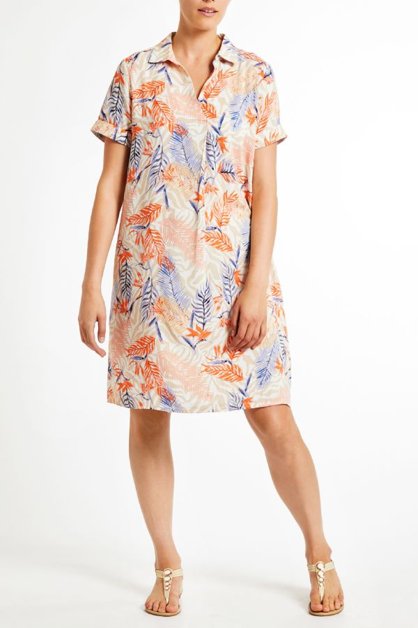 PRINTED HENLEY DRESS