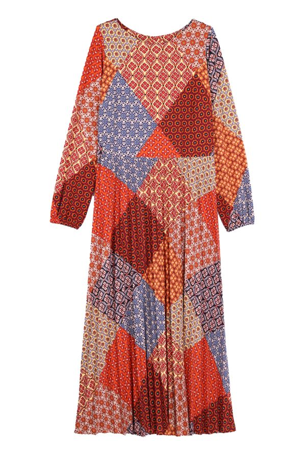 PATCHWORK PLEATED DRESS