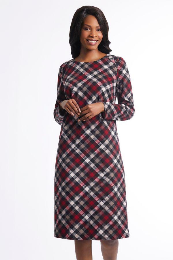CHECK A-LINE DRESS