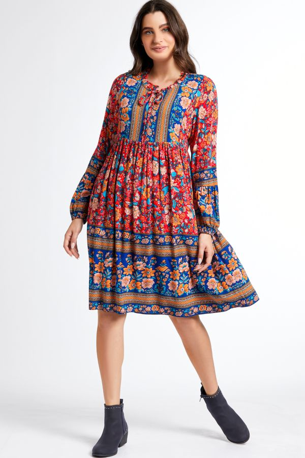 PRINTED TIERED MIDI DRESS