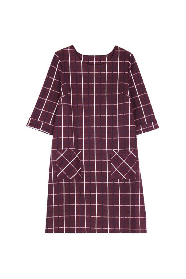 CHECK PONTE SHIFT DRESS