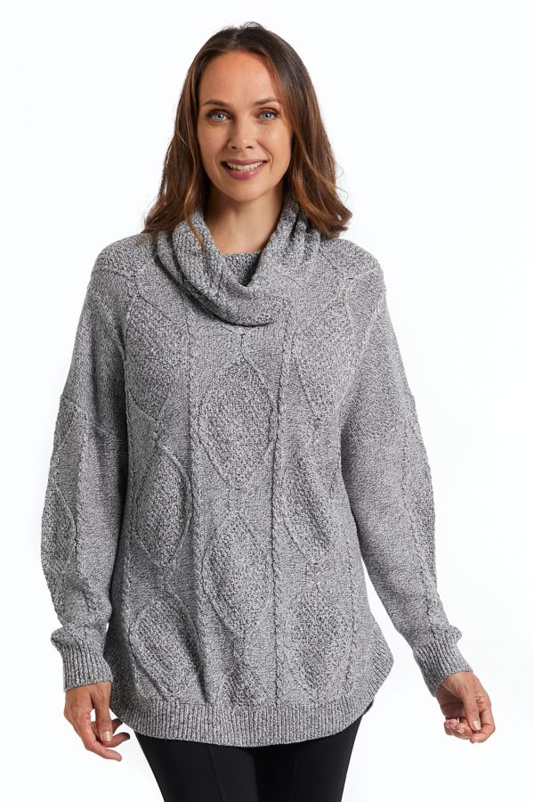 COWL NECK CABLE KNIT TOP