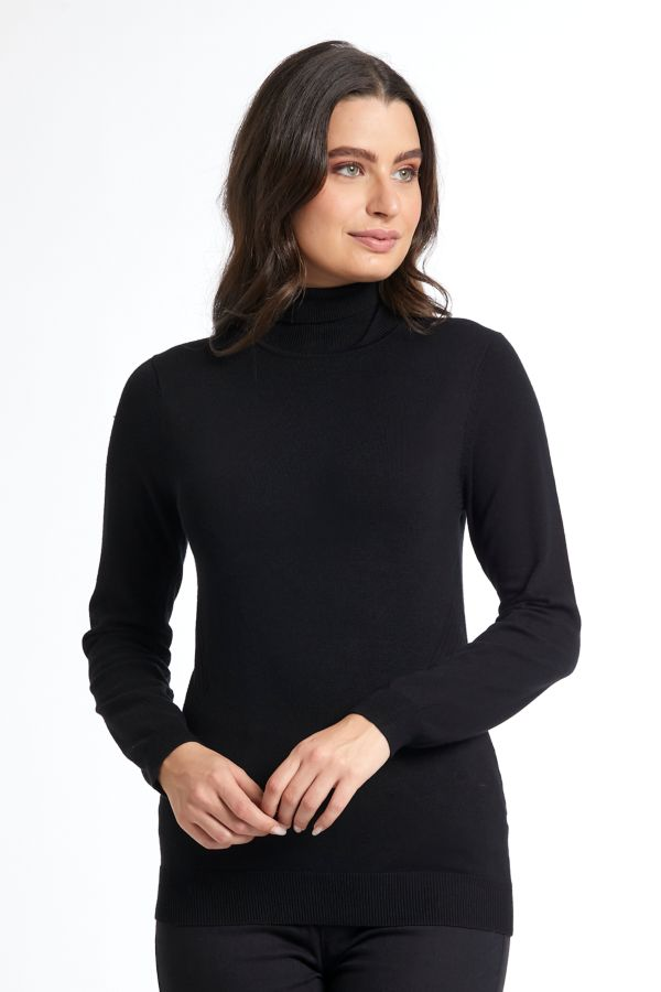 KNITTED POLONECK TOP