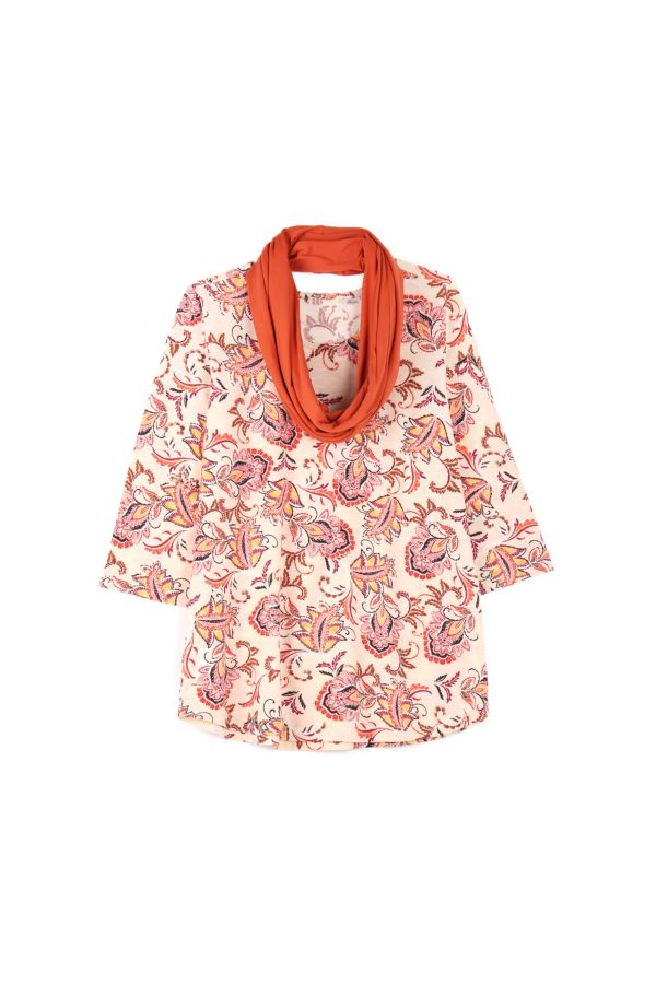 PRINTED TOP WITH SNOOD