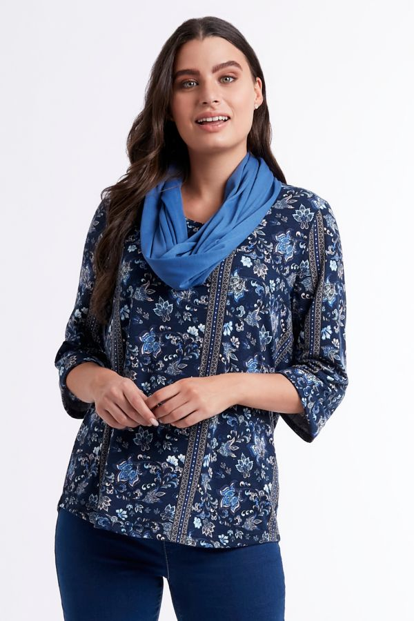FLORAL TOP WITH SNOOD
