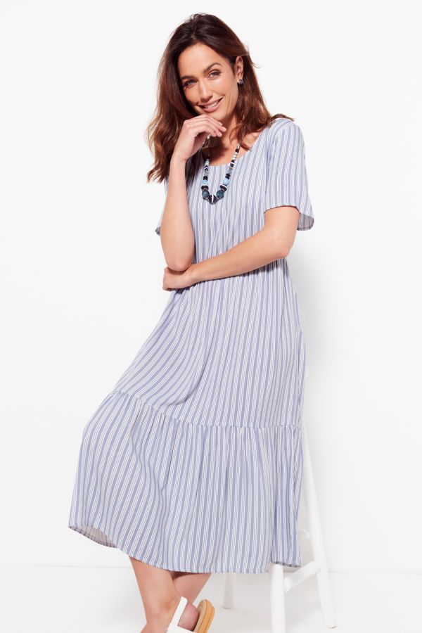 STRIPE TIERED DRESS