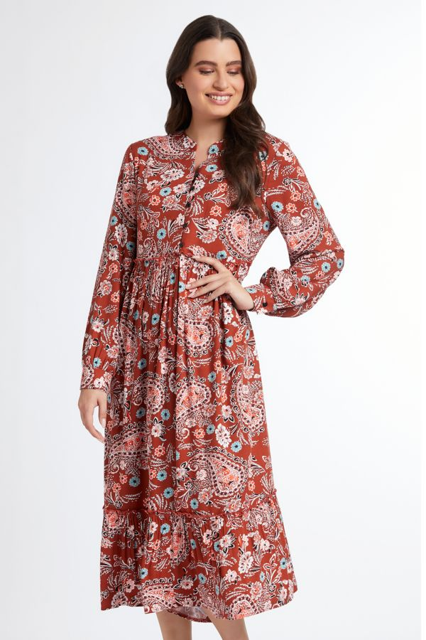 PAISLEY PRINT TIERED DRESS