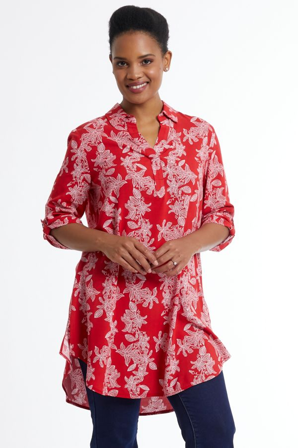 FLORAL PRINT HENLEY TUNIC