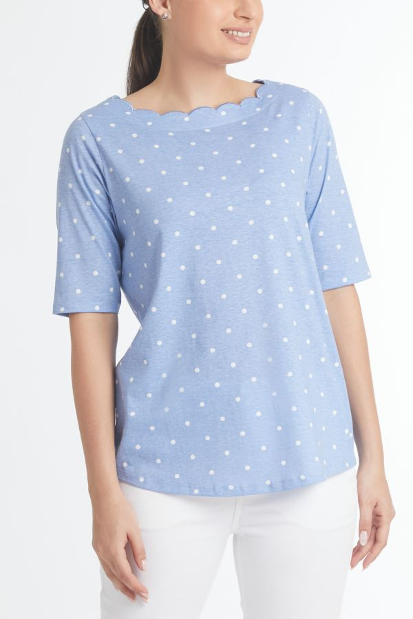 SCALLOPED NECK PRINTED T-SHIRT