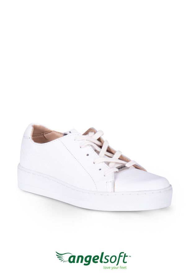 LACE UP LEATHER SNEAKERS - Angelsoft
