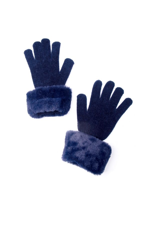 FAUX FUR KNITTED GLOVES