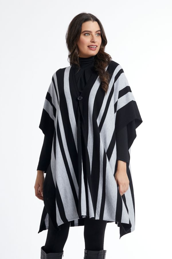 STRIPE KNITTED PONCHO