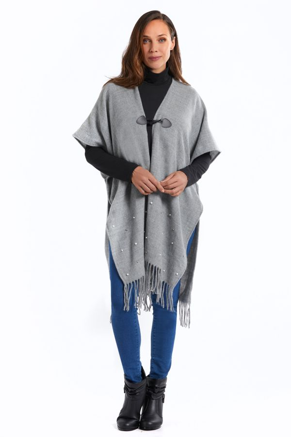 PEARL TRIM KNITTED WRAP