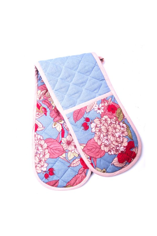 FLORAL DOUBLE OVEN GLOVES