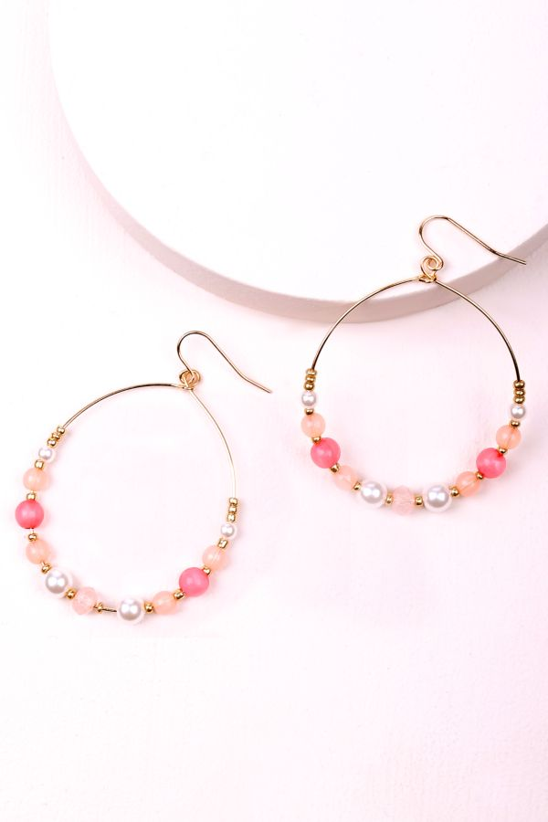 BEADED HOOP EARRNGS